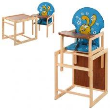 Деревянный стульчик для кормления (трансформер) Заяц, М V-010-25-3 голубой