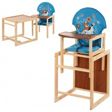 Деревянный стульчик для кормления (трансформер) Собака, М V-010-25-6 голубой