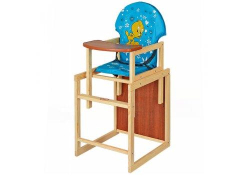 Деревянный стульчик для кормления (трансформер) Цыпленок, М V-010-25-7 голубой