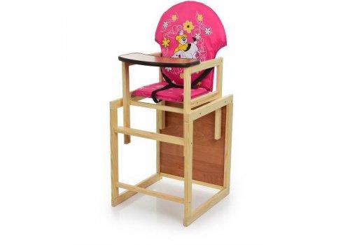 Деревянный стульчик для кормления (трансформер) Собака, М V-010-28-6 розовый