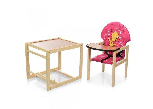 Деревянный стульчик для кормления (трансформер) Цыпленок, М V-010-28-7 розовый