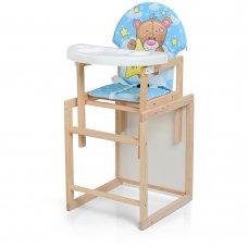 Деревянный стульчик для кормления - трансформер, М V-102-8PU Мишка голубой