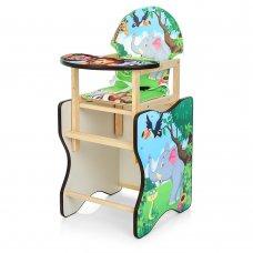 Деревянный стульчик для кормления (трансформер) Зоопарк М V-112-11PU