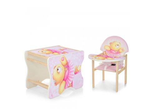 Деревянный стульчик для кормления - трансформер, М V-112-23PU Розовый мишка