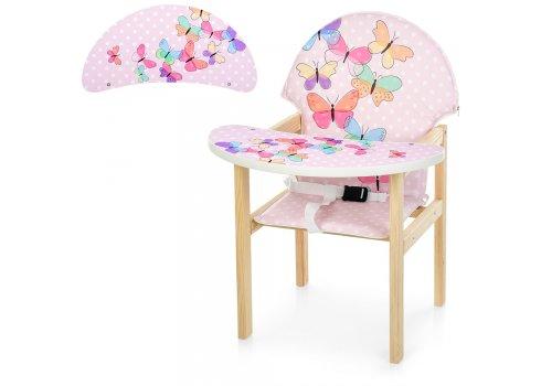 Деревянный стульчик для кормления - трансформер, М K-112-36PU Бабочки розовые