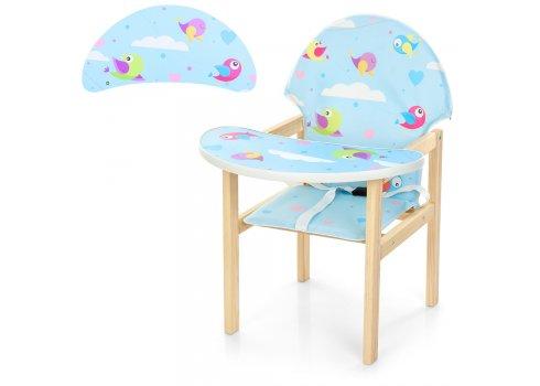 Деревянный стульчик для кормления - трансформер, М K-112-39PU Птички голубой