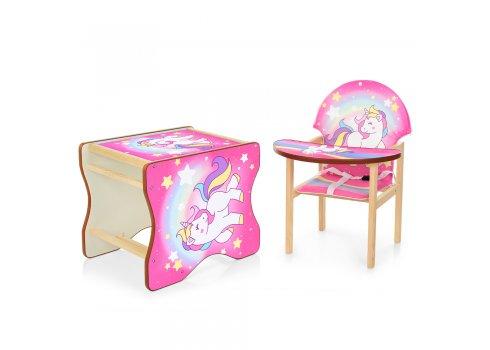 Деревянный стульчик для кормления - трансформер, М K-112-44-1PU Единорог розовый