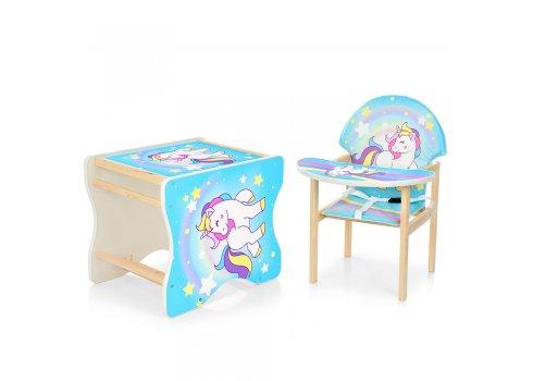 Деревянный стульчик для кормления (трансформер) Единорог М K-112-44-4PU голубой