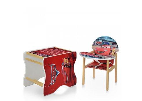 Деревянный стульчик для кормления - трансформер, М V-112 -52-PU Тачки