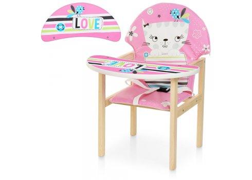 Деревянный стульчик для кормления - трансформер, М V-112-58-1PU Кошка розовый