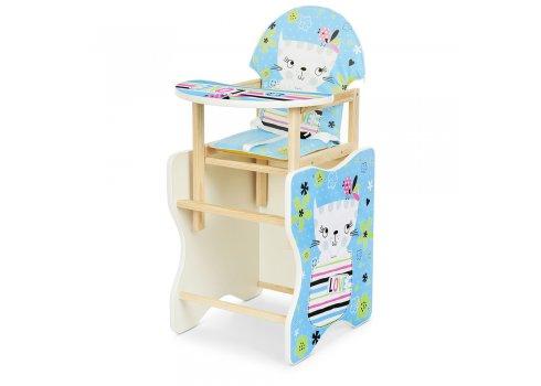 Деревянный стульчик для кормления - трансформер, М V-112 -58-2PU Кошка синий
