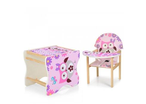 Деревянный стульчик для кормления - трансформер, М K-112-62-PU Сова розовая