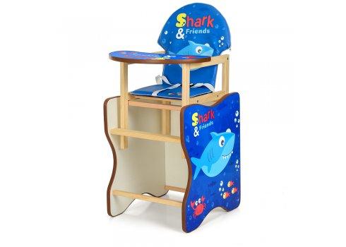 Деревянный стульчик для кормления (трансформер) Акула М K-112-74-PU