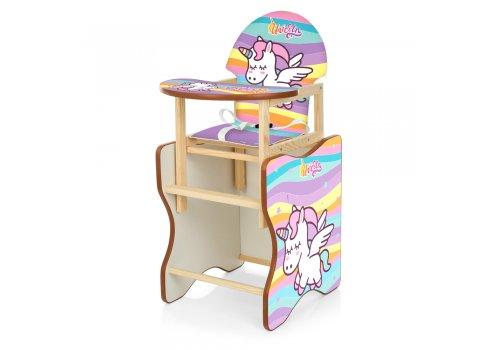 Деревянный стульчик для кормления (трансформер) Единорог М V-112-77 PU радуга