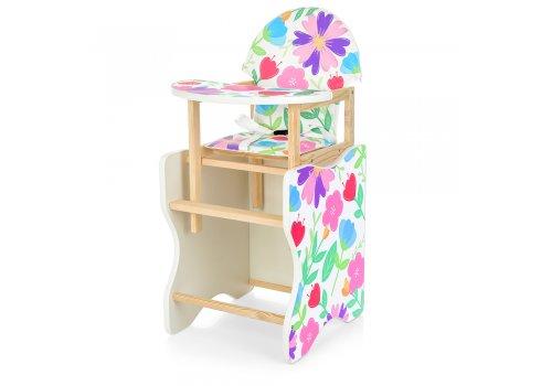 Деревянный стульчик для кормления - трансформер, М V-112-7PU Цветы