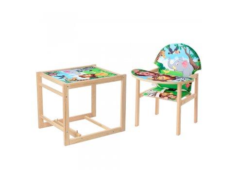 Деревянный стульчик для кормления - трансформер, М V-122-11PU Зоопарк