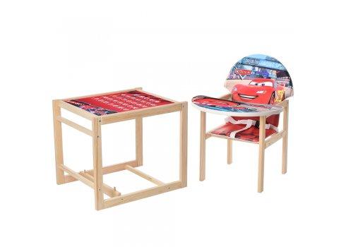 Деревянный стульчик для кормления - трансформер, М K-122-7PU Тачки