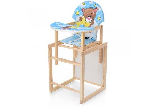 Деревянный стульчик для кормления - трансформер, М V-122-8PU голубой медведь