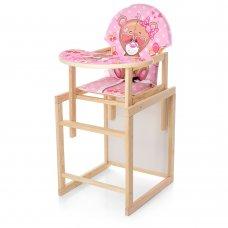 Деревянный стульчик для кормления - трансформер, М V-122-9PU розовый медведь