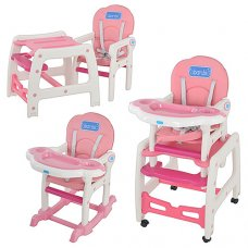 Стульчик для кормления, трансформер 3в1 (стульчик для кормления/столик+стульчик/качалка), BAMBI M 1563-1-8 бело-розовый