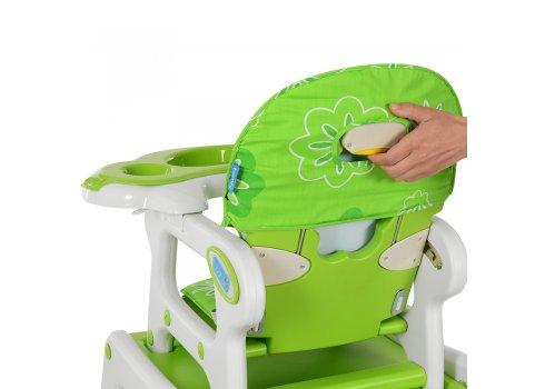 Стульчик для кормления, трансформер 3в1 (стульчик для кормления/столик+стульчик/качалка), BAMBI M 1563-5 бело-зеленый