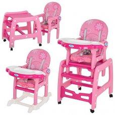 Стульчик для кормления, трансформер 3в1 (стульчик для кормления/столик+стульчик/качалка), BAMBI M 1563-8-2 розовый