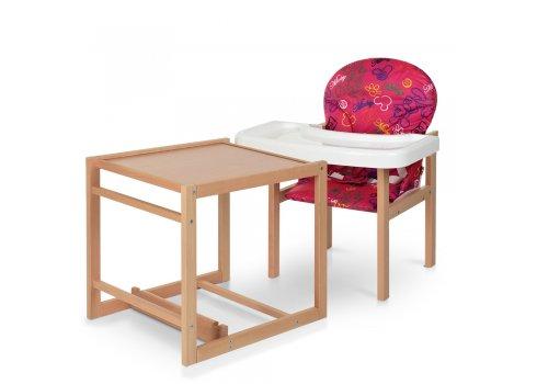 Деревянный стульчик для кормления-трансформер RH-2 розовый