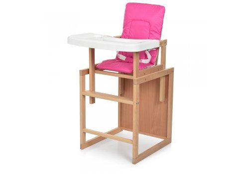 Деревянный стульчик для кормления-трансформер R2 розовый