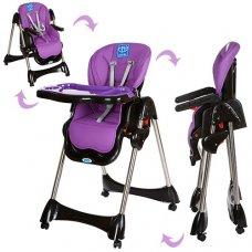 Стульчик для кормления, регулируется спинка, Bambi M 3216-9 фиолетовый