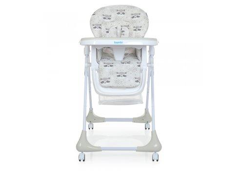 Детский стульчик для кормления на колесиках M 3233 Raccoon Gray серый