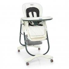 Детский стульчик для кормления на колесиках EL CAMINO M 3236 Snow White белый с серым