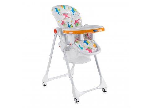 Детский стульчик для кормления JOY Слоники К-55448 бело-оранжевый