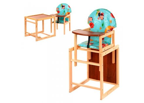 Деревянный стульчик для кормления, трансформер 2в1, VIVAST М V-002-2 божья коровка на голубом фоне