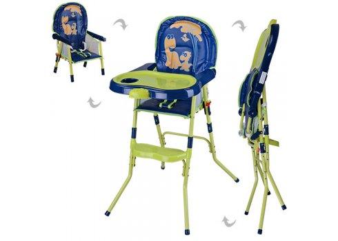 Cтульчик-трансформер 2в1 (для кормления+стульчик) HC100A GREEN, сине-зеленый-желтый