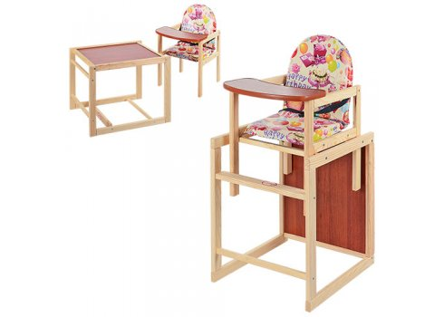 Деревянный стульчик для кормления, трансформер 2в1, VIVAST М V-001-11