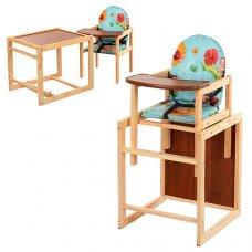 Деревянный стульчик для кормления, трансформер 2в1, VIVAST М V-001-2 голубой
