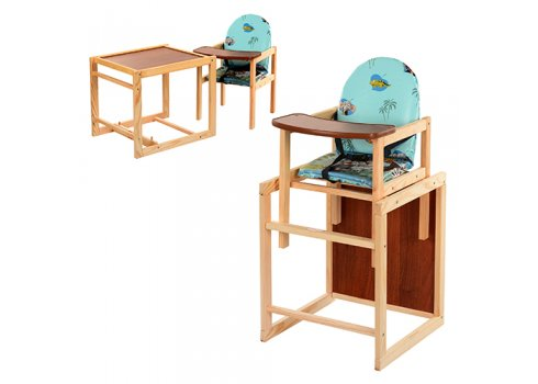 Деревянный стульчик для кормления, трансформер 2в1, VIVAST М V-001-6 голубой
