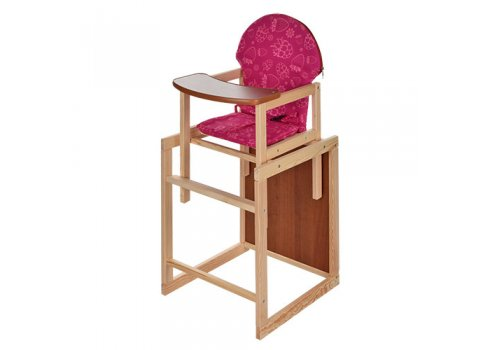 Деревянный стульчик для кормления - трансформер 2в1 Клубничка M V-002-26 малиновый