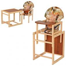 Деревянный стульчик для кормления, трансформер 2в1, VIVAST М V-002-3 котята
