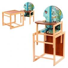 Деревянный стульчик для кормления, трансформер 2в1, VIVAST М V-002-6 животные, голубой