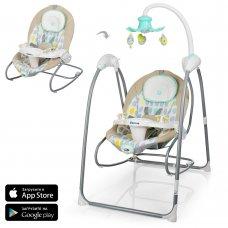 Детские электрокачели-шезлонг с проектором и управлением через мобильное приложение, El Camino ME 1020-12 серый с мятным