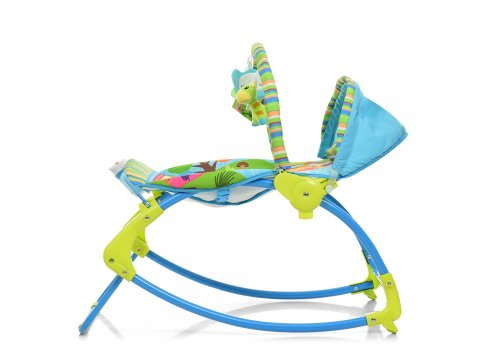 Напольный шезлонг-качалка с регулируемой спинкой Bambi PK-306-4 синий