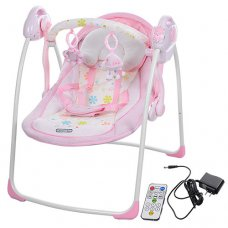 Детские электрокачели на пульте управления, Bambi 32005 розовая