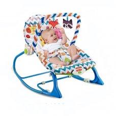 Детский шезлонг-качалка с регулируемой спинкой 432-5 Жираф и Слон