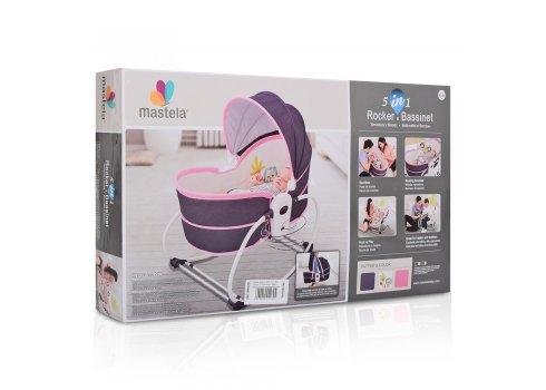 Люлька - баунсер Mastela 5 в 1 для новорожденных 6033 серо-розовый
