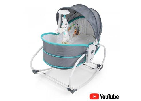Люлька - баунсер Mastela 5 в 1 для новорожденных 6037 серо-голубой