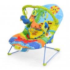 Детский шезлонг-качалка с регулируемой спинкой, 60669 синий