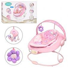 Детский шезлонг-качалка музыкальный, Bambi 60681 розовый
