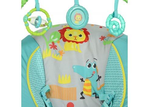 Детский музыкальный шезлонг-баунсер Mastela 6318 сине-зеленый