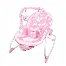 Детский шезлонг-качалка с регулируемой спинкой 68141 розовый